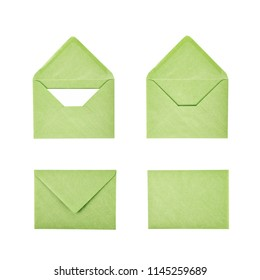 Closed and opened paper envelope isolated