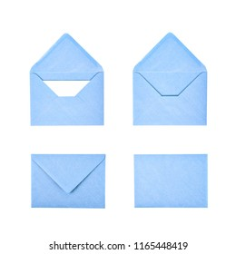 Closed and opened paper envelope isolated over the white background, each in two different foreshortenings