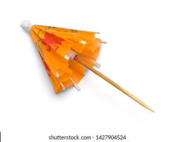 Closed Orange Drink Umbrella Isolated on White Background.
