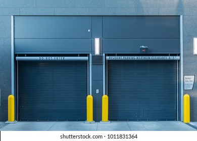 Closed Parking Garage Doors in urban apartment building