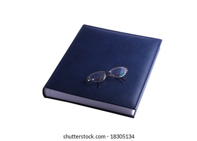 The closed picture album on a white background