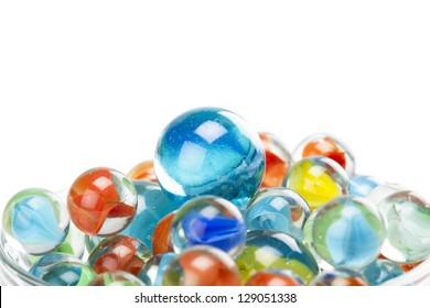 Closed up pile of assorted marbles