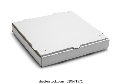 Closed Pizza Box Isolated on White Background.
