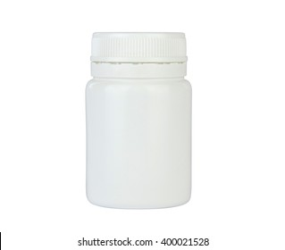 Closed plastic container for tablets, pills, capsules, drugs, vitamins etc. Pharmaceutic container isolated on white background