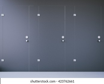 Closed public toilet cubicles with black doors. 3d rendering