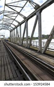 Closed railway bridge over the Vistula River in GdaÃ?Â??sk, Poland
