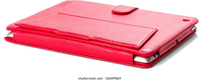Closed Red Leather Case with Tablet - Isolated