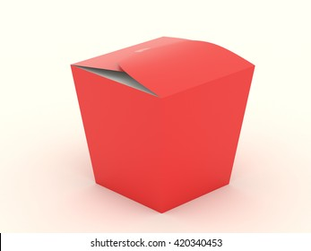 The closed red wok box mock up with blank. Package mockup for design isolated on white background. Asian package for food, rice, noodles, potatoes fastfood. Realistic high resolution 3d illustration