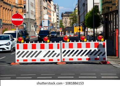 Closed road by barrier during construction work in the city of Berlin, Germany