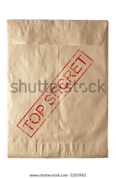closed rude envelpe for documents eith top secret stamp