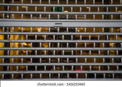 Closed shop metal shutters roller blinds texture