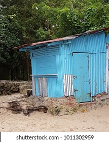 Closed shop on a beach in the Dominican Republic. Tourism is a major source of revenue in this country.
