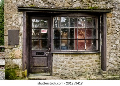 A closed shop in the village of Malham in Yorkshire, England.