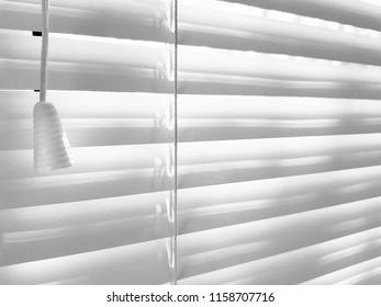 Closed shutters and rope. Jalousie background. Sunlight through horizontal blinds
