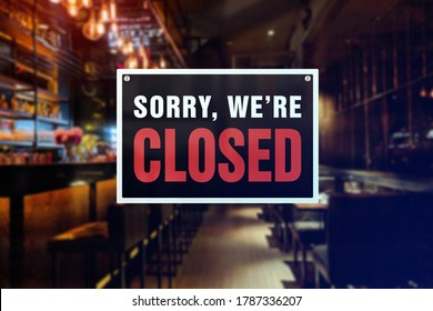 Closed sign of a bar or pub. Concept of Closure, suspension, or bankruptcy of a bar, restobar or pub. - Shutterstock ID 1787336207