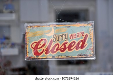 Closed sign in the street shop