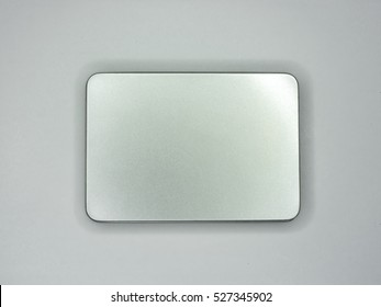 closed silver box isolated on white background.