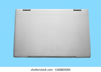 Closed silver laptop isolated with clipping path included