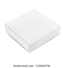 Closed square white box isolated on white background
