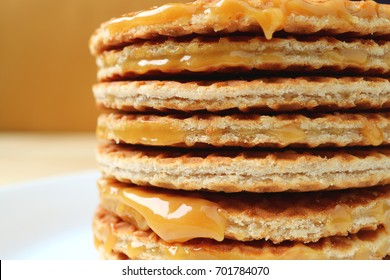 Closed up stack of Stroopwafel, delectable caramel filled Dutch waffle, with selective focus