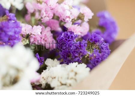 Closed statice flower bouquet meaningful gift stock photo edit now closed up statice flower bouquet as a meaningful gift mixed with purple pink mightylinksfo
