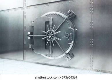 Closed steel bank vault door. 3D Render