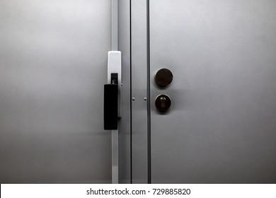 Closed steel door of some locker