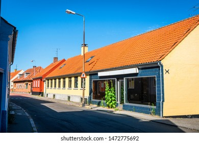 Closed store in a small danish city with colorful buildings on the island of Bornholm
