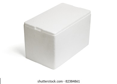 Closed Styrofoam storage box on white background