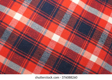 Closed up Texture of tablecloth, gingham pattern in red, white and navy blue, checked pattern