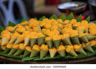 Closed up Thai dessert in yellow color, made from sugar palm fruit, Thailand.