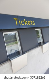 Closed ticket counters outside a sports stadium