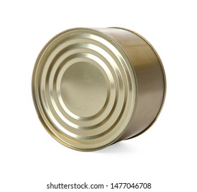 Closed tin can isolated on white, mockup for design