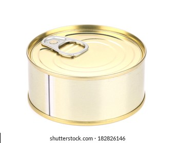 Closed tin can. Isolated on a white background.