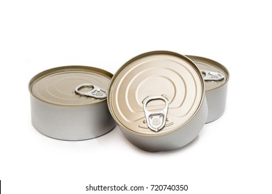 Closed Tin can on isolated white background.