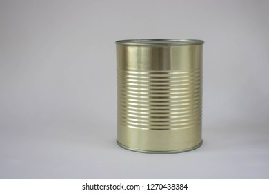 Closed tin can on a white background