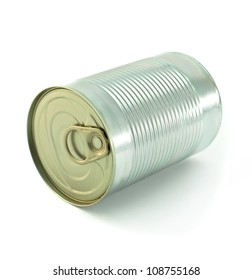 The closed tin cans. On a white background.