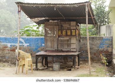 Closed trading place on the road Govardhan Parikrama Marg.India, Govardhan, November 2016