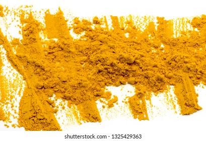 Closed up Turmeric powder on white background