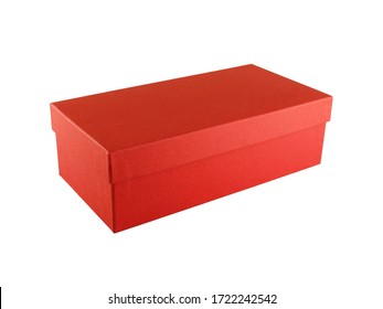 closed unbranded crimson red shoe carton box isolated on white background, close up single rectangle shaped cardboard for shoes storage, merchandise packaging and shipping