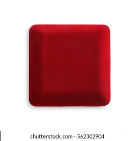 Closed velvet jewelry red box isolated on white background, top view