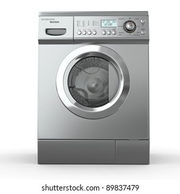 Closed washing machine on white  background. 3d