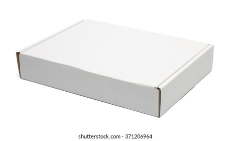 Closed white carton pizza box isolated on white with clipping path with original shadow
