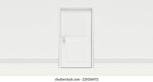 Closed White Door on White Wall