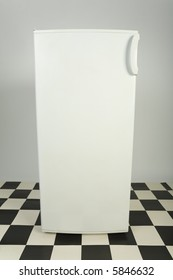 Closed white fridge. Front view