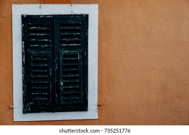 Closed Window of the old building in Montenegro