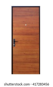 Closed wooden door isolated at white background. Image of a closed door. Entrance to apartment. Brown wood veneer front door for office, with lock and handle. Modern Door design.
