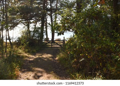 Closed wooden gate by a country road to the coast at the swedish island Oland in the Baltic Sea
