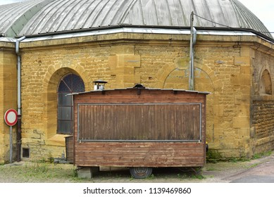 Closed wooden mobile snack trailer in Northern France. .