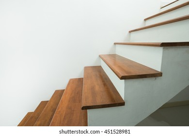 closed up of wooden stairs in home